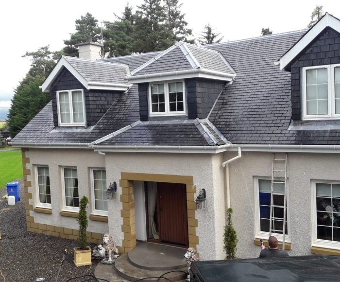 Slate & Roughcast Clean Charters Hall Stirling Before
